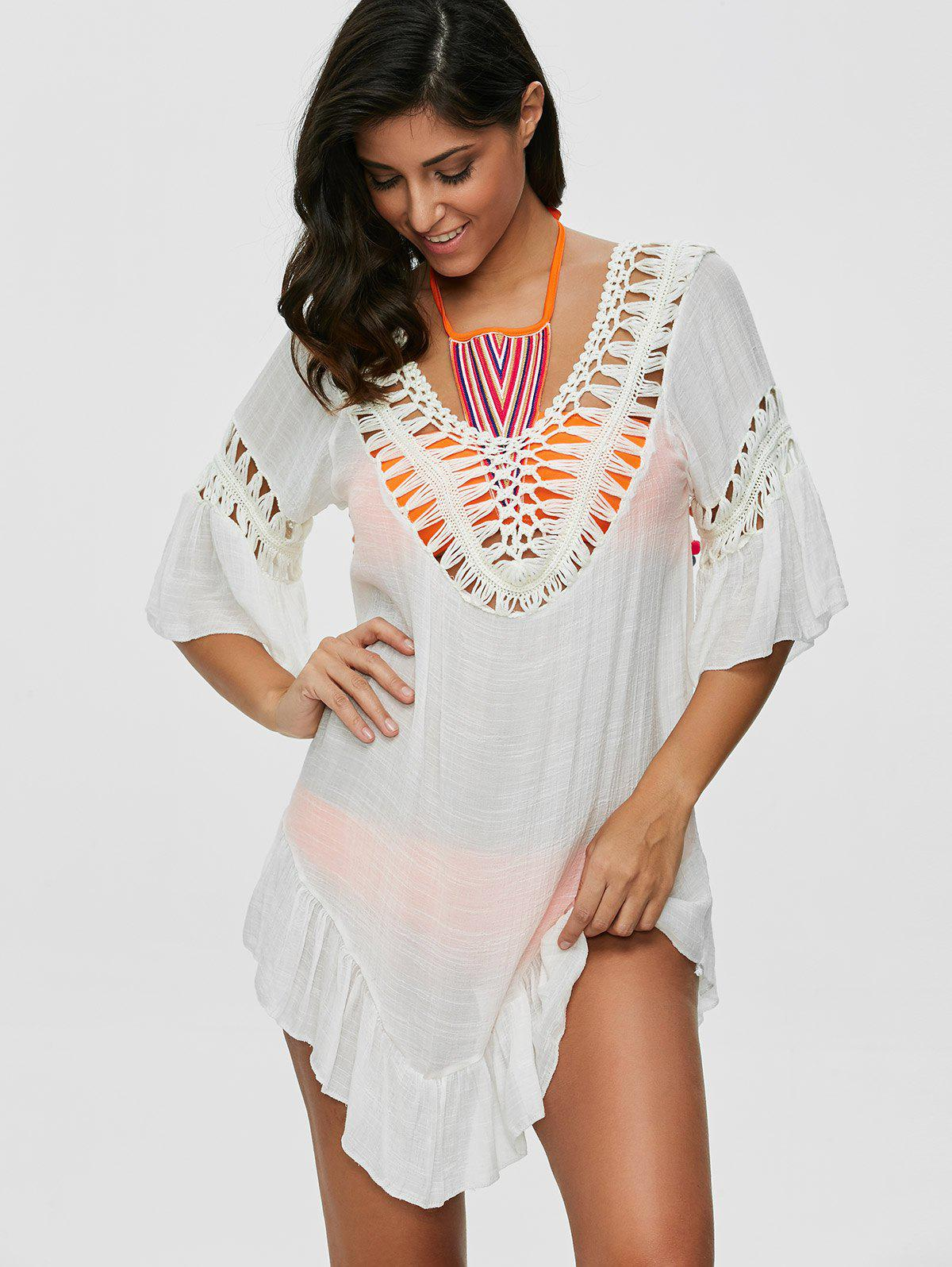 Pompon See-Through Crochet Tunic Beach Cover Up - WHITE ONE SIZE