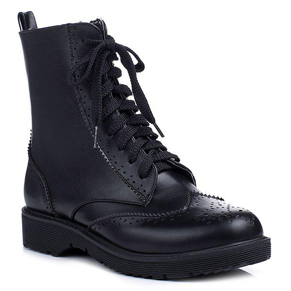 Zipper Wingtip Ankle Boots - BLACK 39