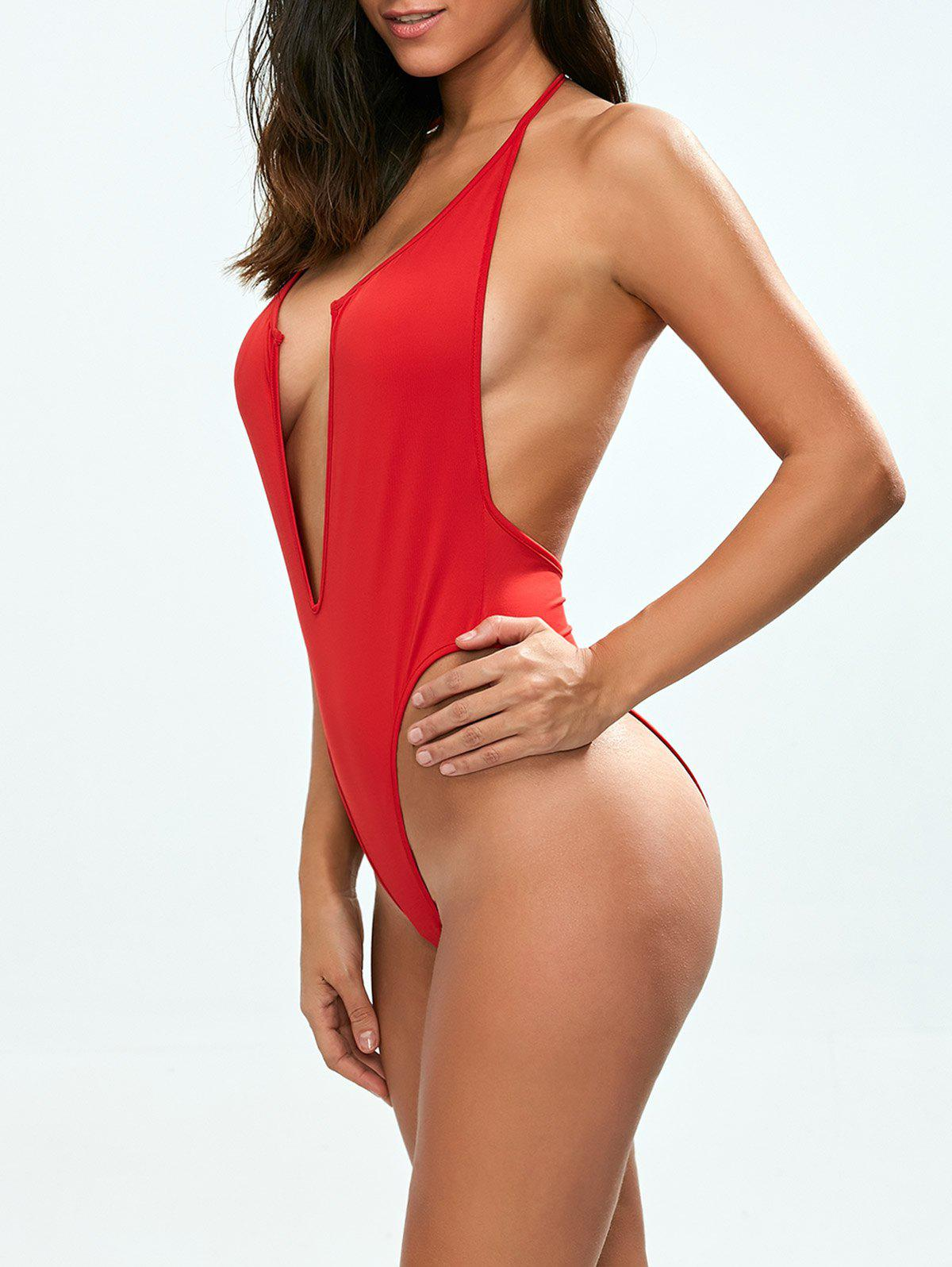Backless Low Cut Halter One Piece Swimsuit - RED S