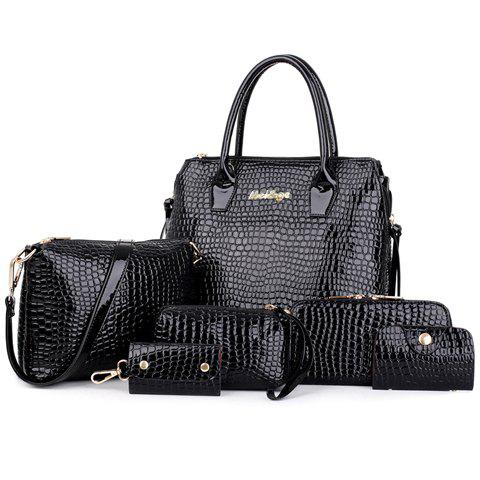 Crocodile Embossed Handbag 6Pc Set - BLACK