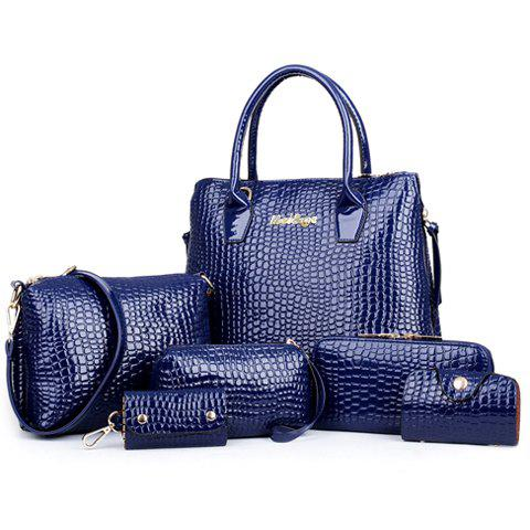 Crocodile Embossed Handbag 6Pc Set - DEEP BLUE