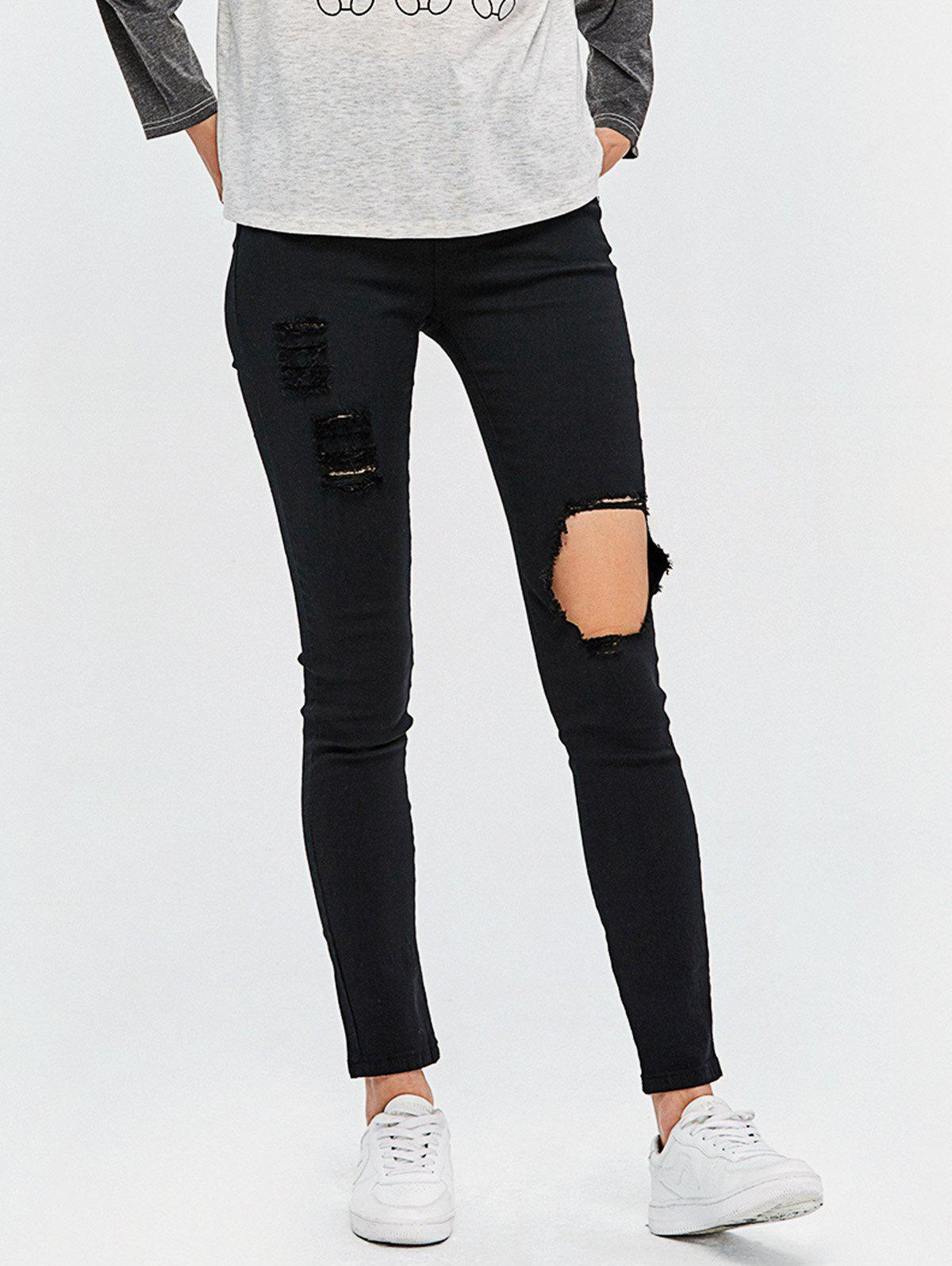 High Waist Destroyed Bodycon Jeans - BLACK M