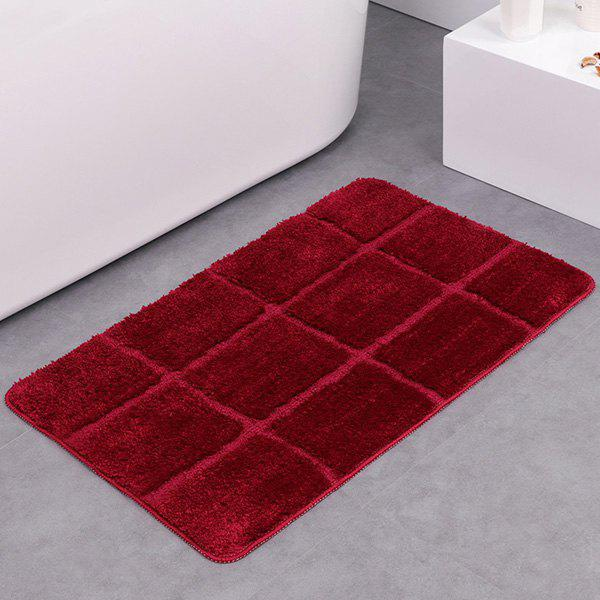 Gingham Plaid Water Absorbent Skidproof Rug - BURGUNDY