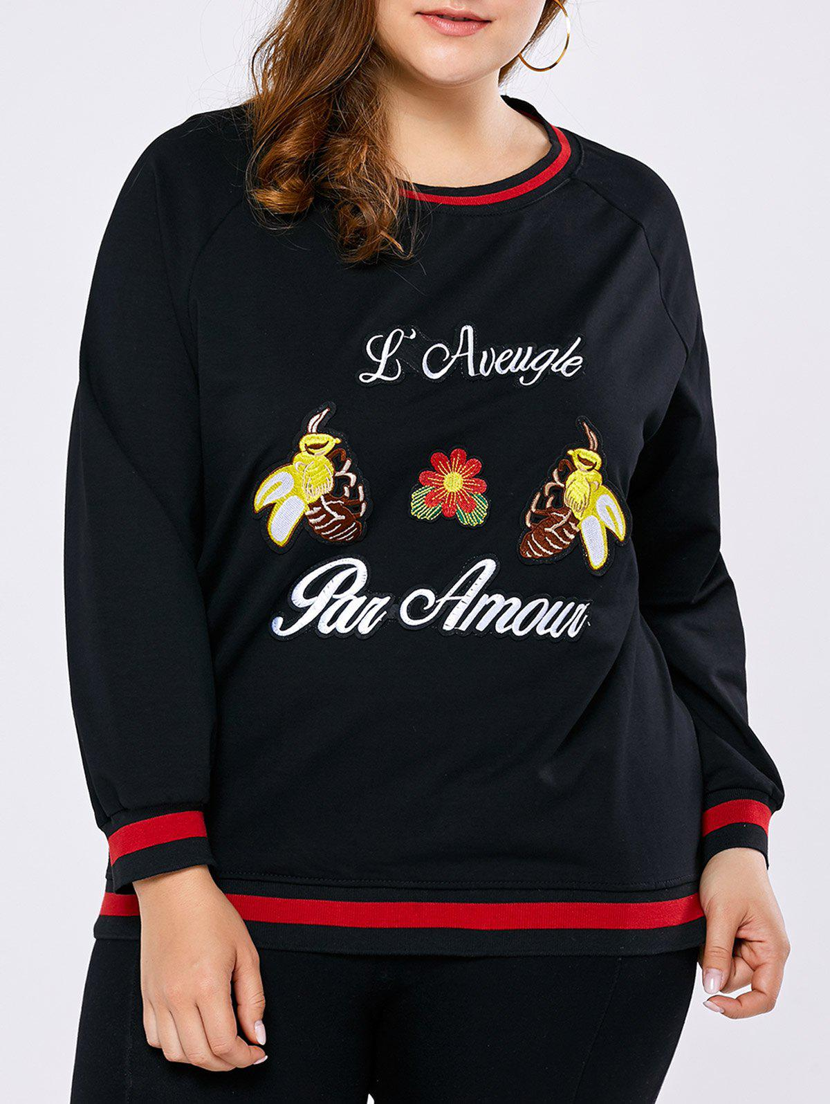 Plus Size Bee Embroidered Contrast SweatshirtWomen<br><br><br>Size: ONE SIZE<br>Color: BLACK