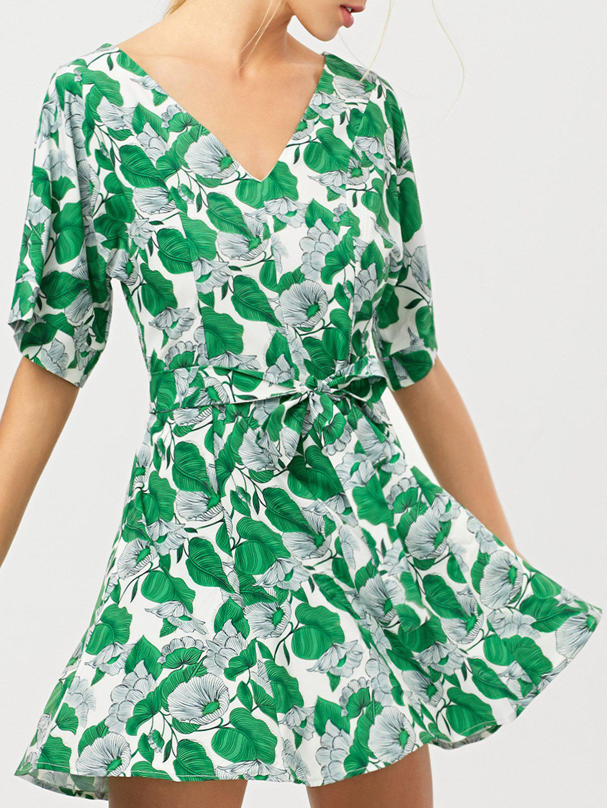 Belted Leaves Print A-Line Dress - GREEN S