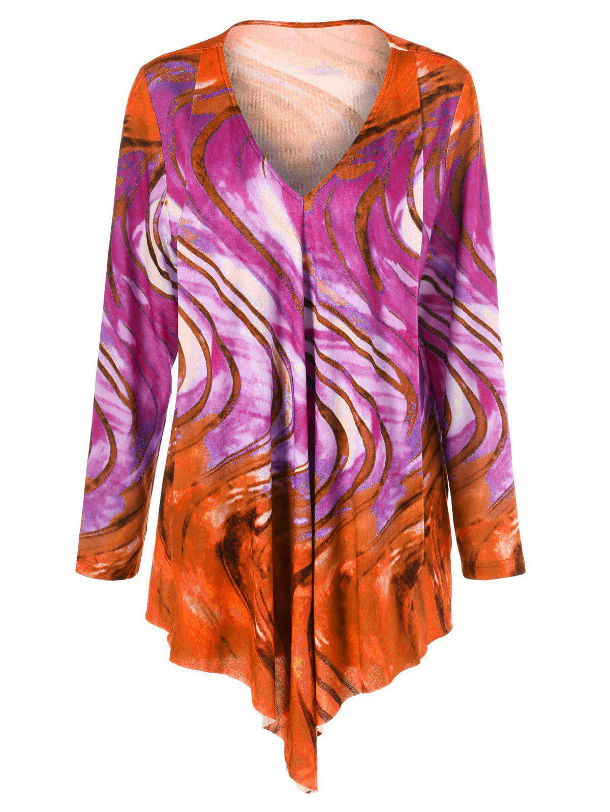 Tie Dye Plus Size Asymmetrical Tee plus graphic print tie dye tee
