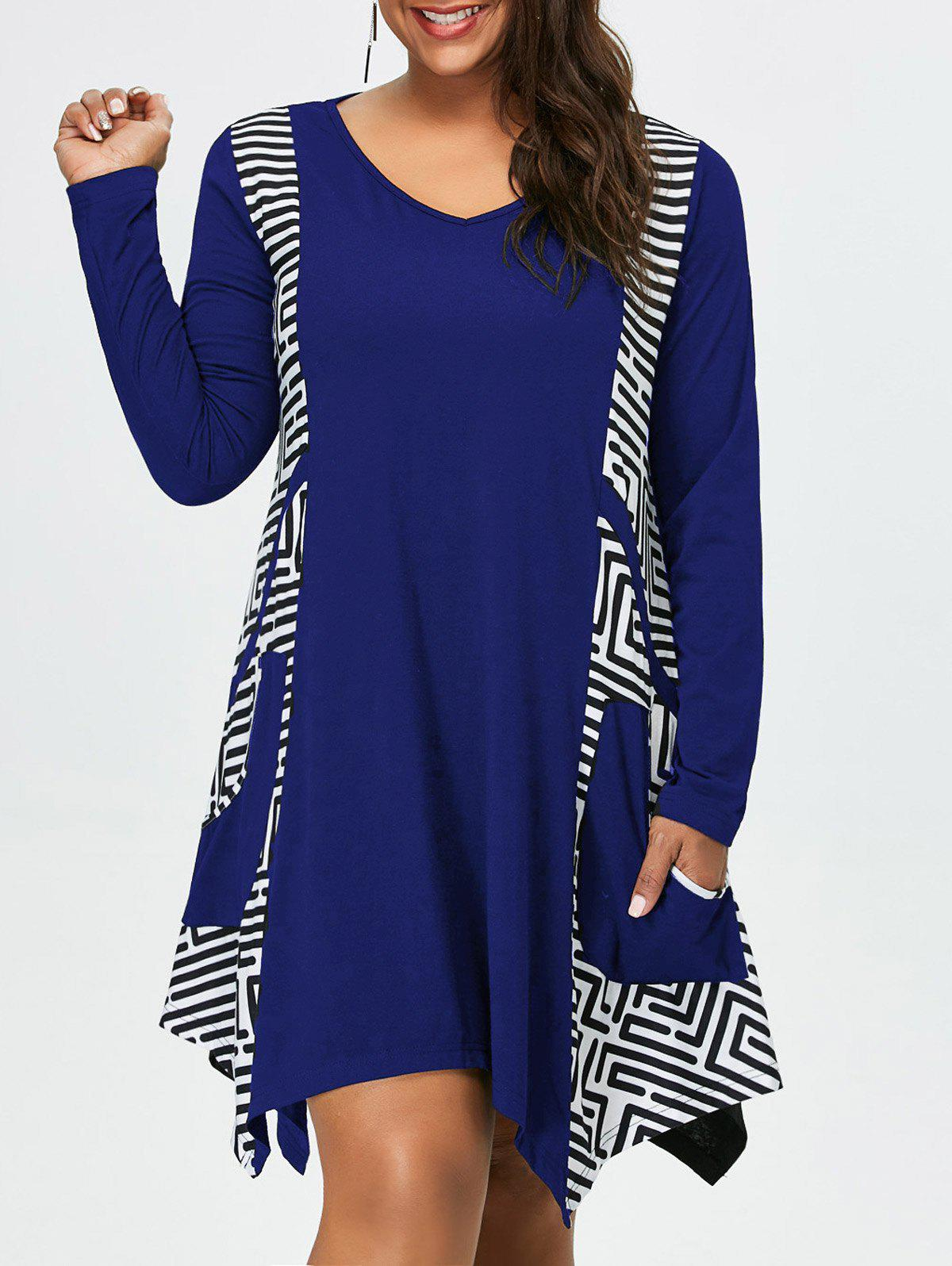 Plus Size Long Sleeve Asymmetrical Tee Dress with Pockets plus size floral embroidery tee dress with pockets