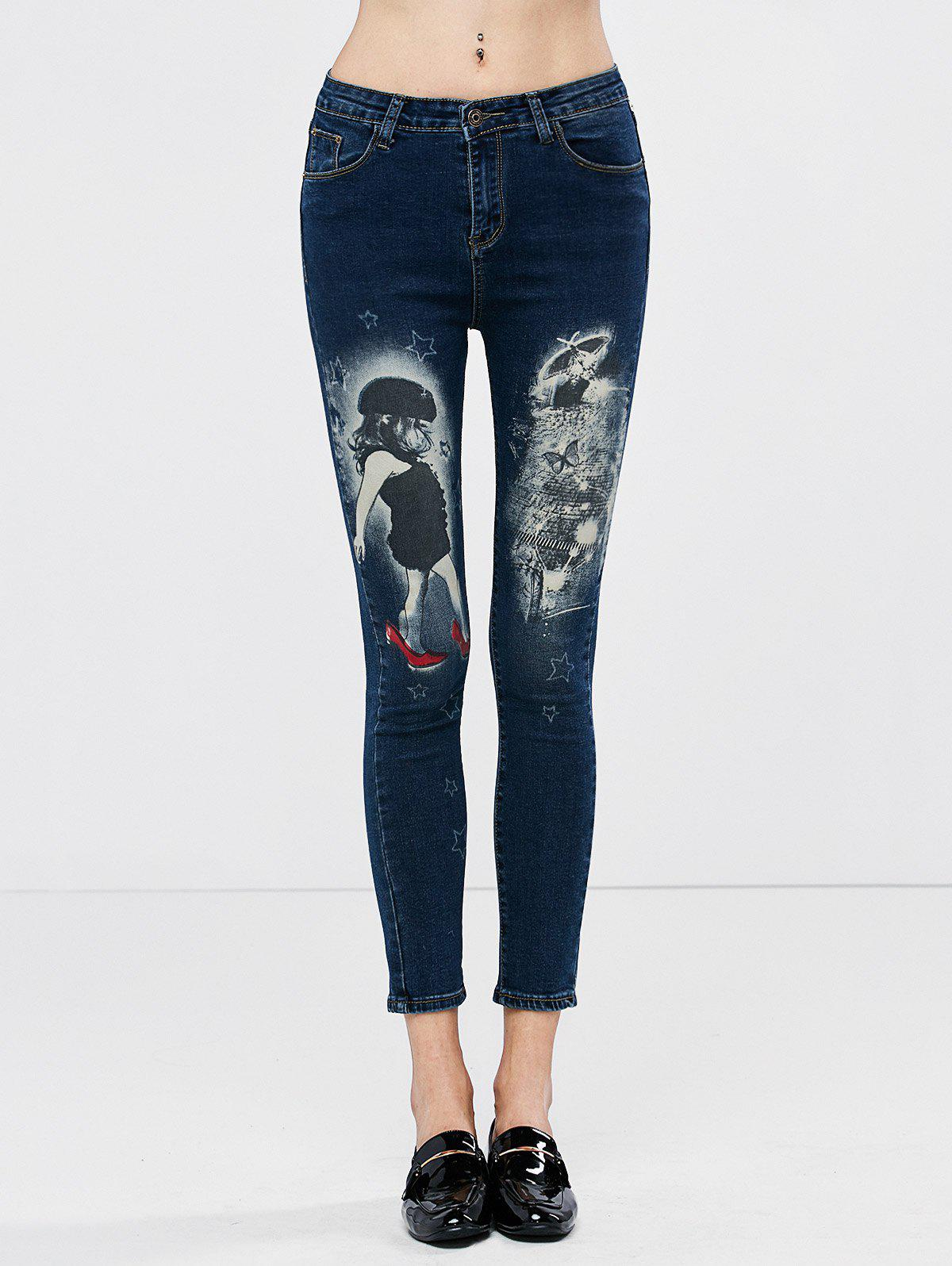 Low Waisted Girl Printed Cropped Skinny Jeans - DEEP BLUE 27