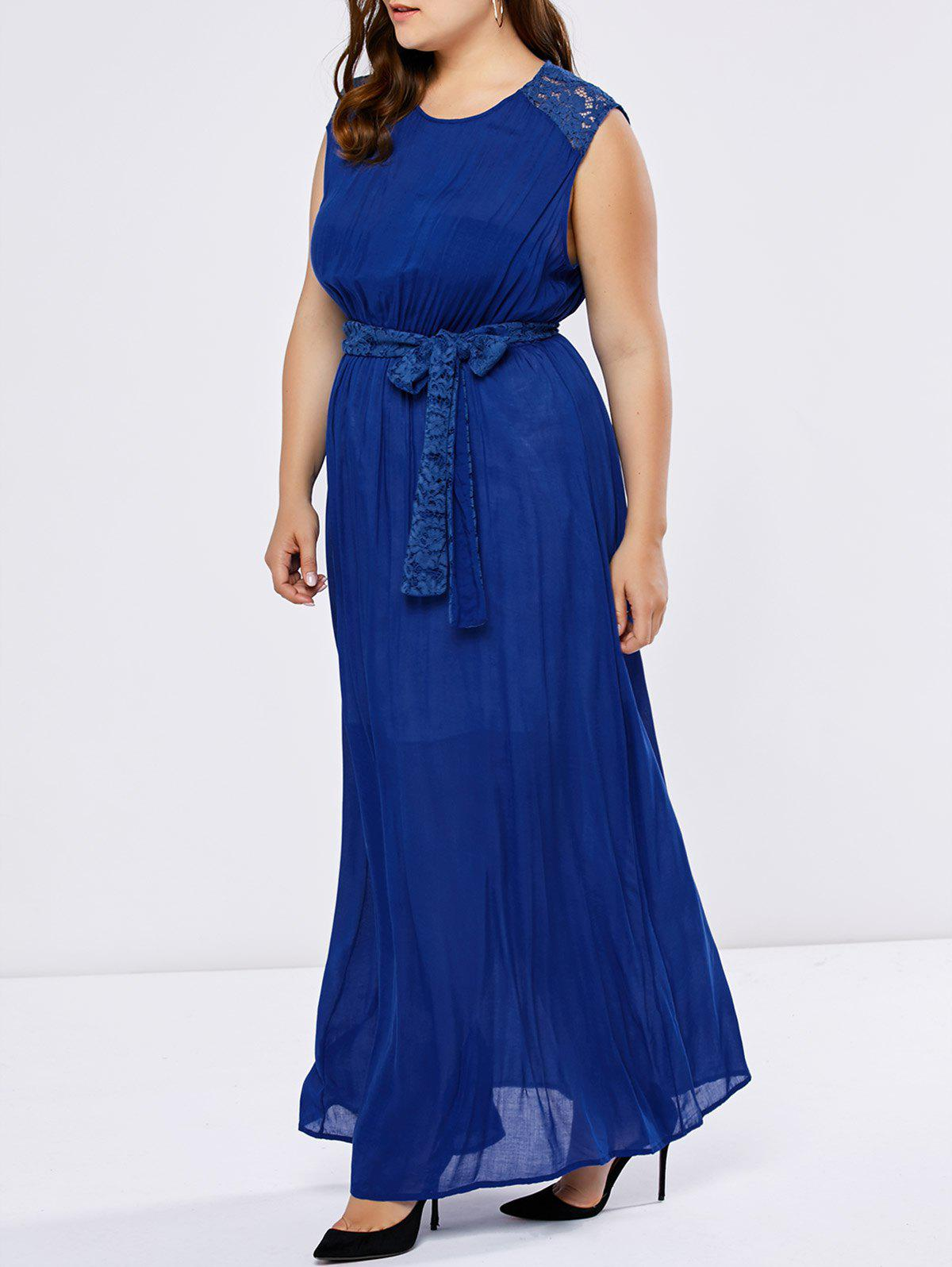 Plus Size Lace Insert Wedding Guest Dress - BLUE XL