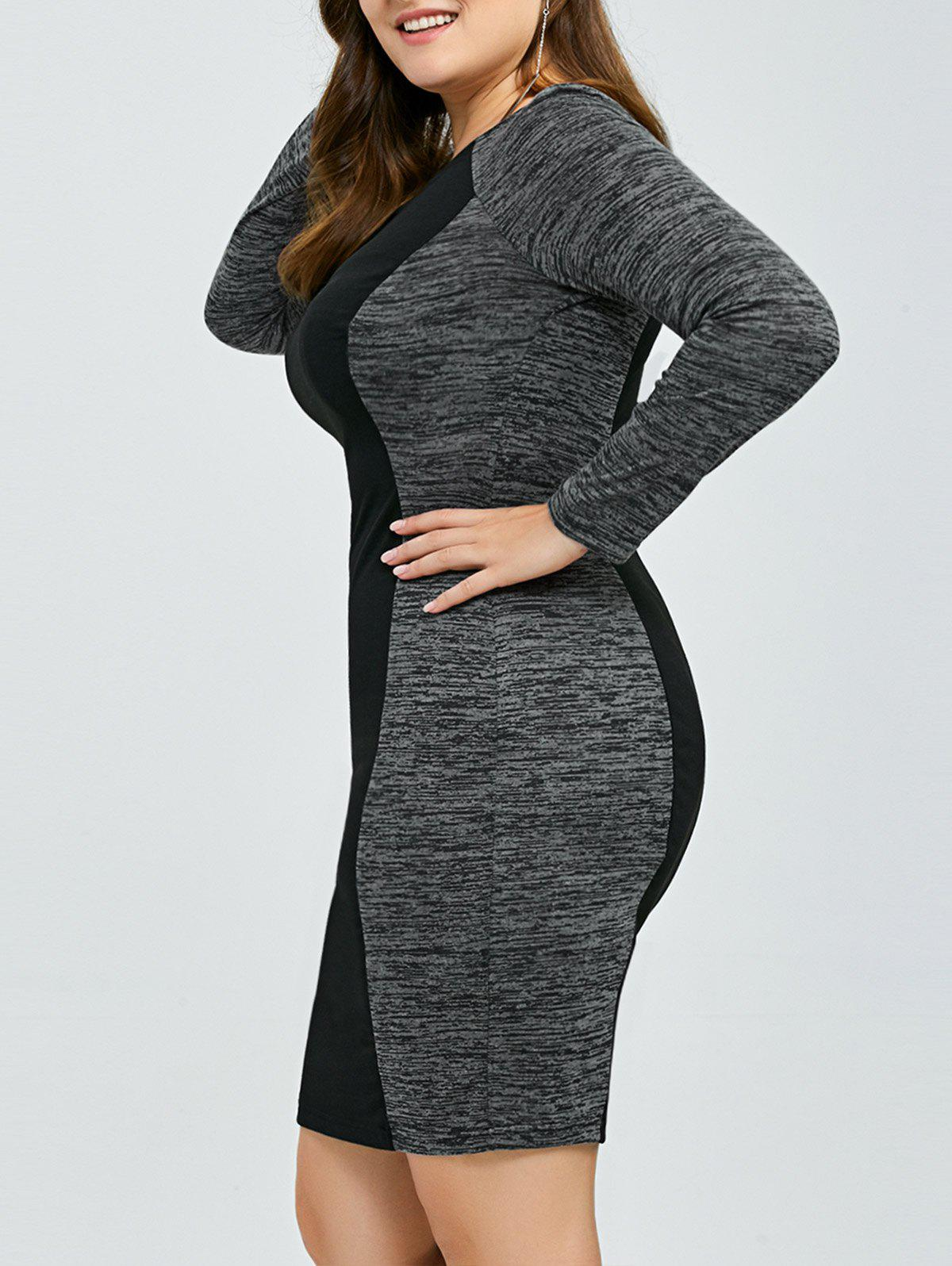 Heather Trim Sheath Dress - BLACK/GREY 3XL