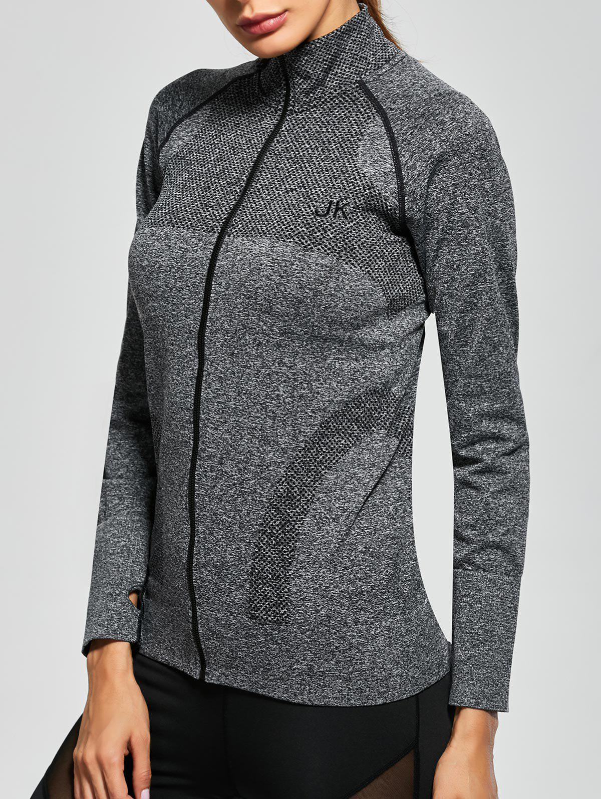 Quick Dry Zipper Work Out Running Jacket - GRAY L