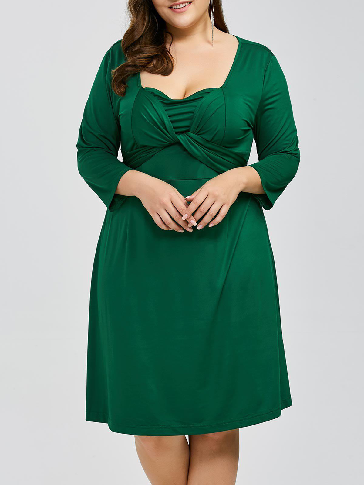 Plus Size Criss Cross Knee Length Dress plus size belted knee length dress with pockets