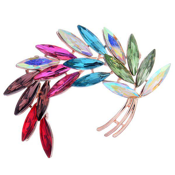 Colorful Faux Crystal Curved Leaf Shape Brooch - COLORFUL
