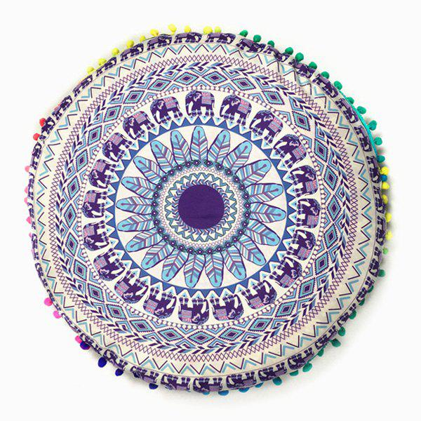 Elephant and Feather Print Pompon Round Floor Cushion Pillow Case - PURPLE ONE SIZE
