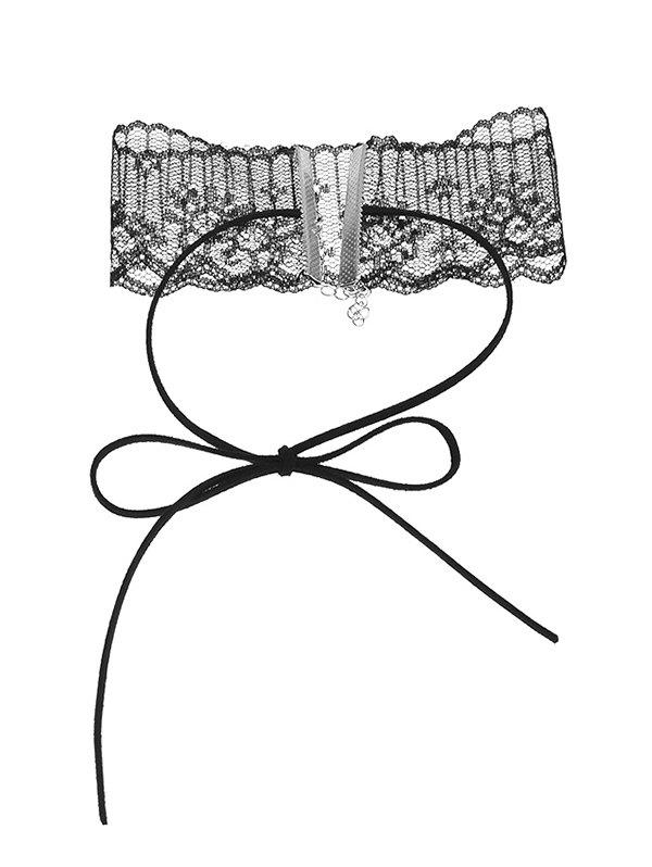 Adjustable Lace Bowknot Choker Necklace - BLACK