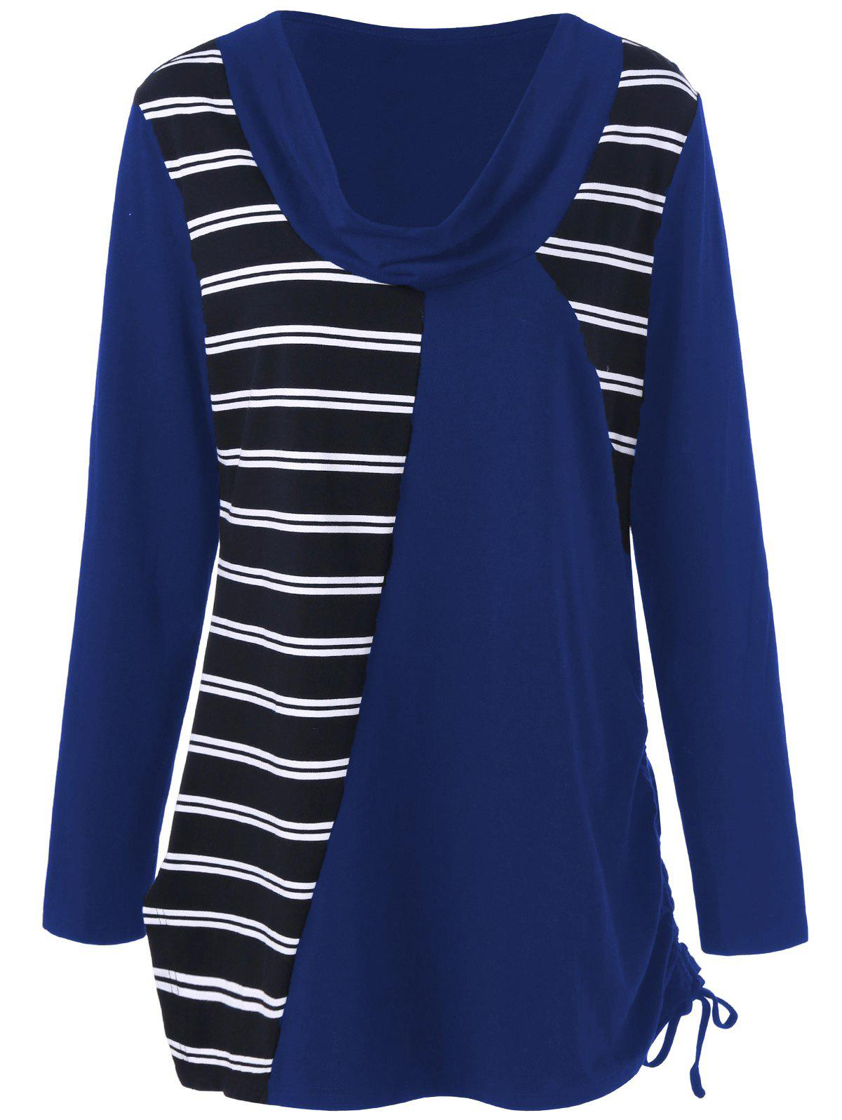 Plus Size Cowl Neck Striped Tunic T-Shirt - DEEP BLUE 4XL