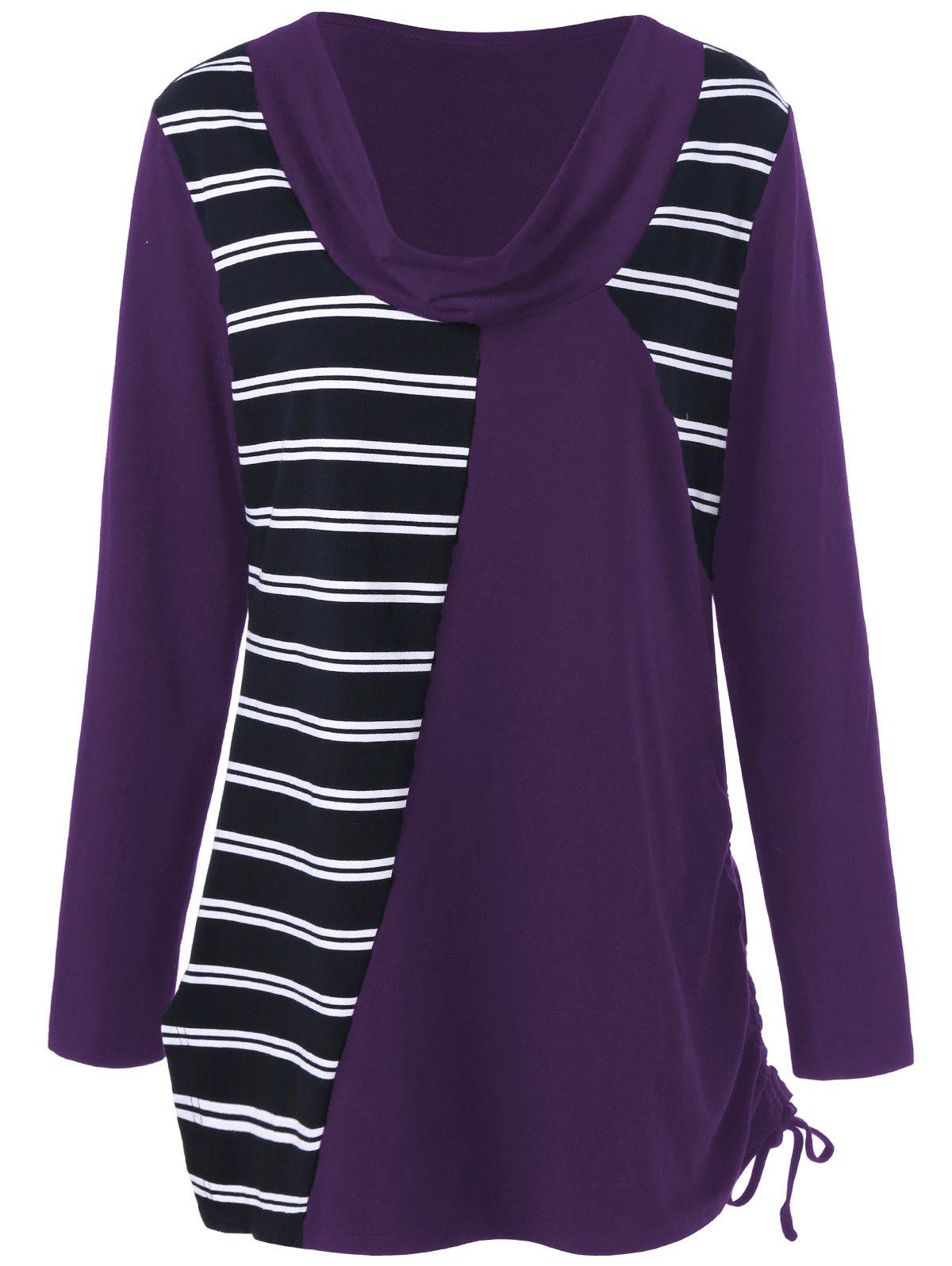 Plus Size Cowl Neck Striped Tunic T-Shirt plus size colorblock cowl neck t shirt