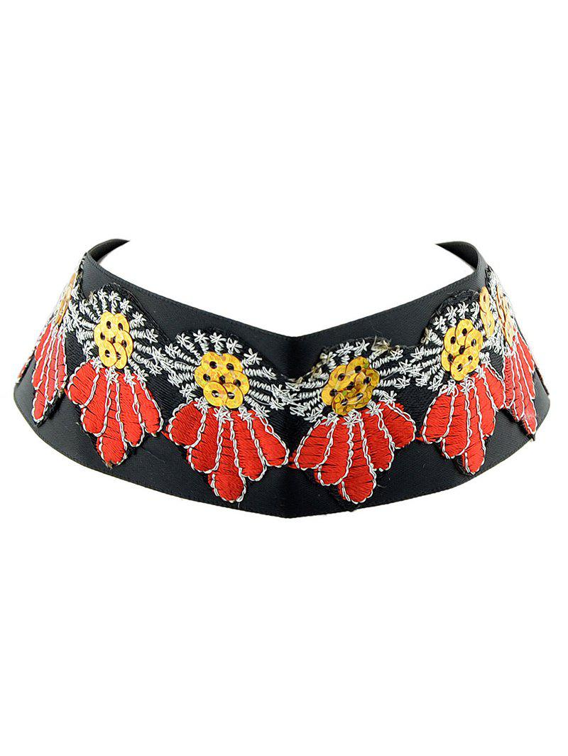 Embroidered Wide Choker Necklace embroidered flower patch wide band comfy bralette
