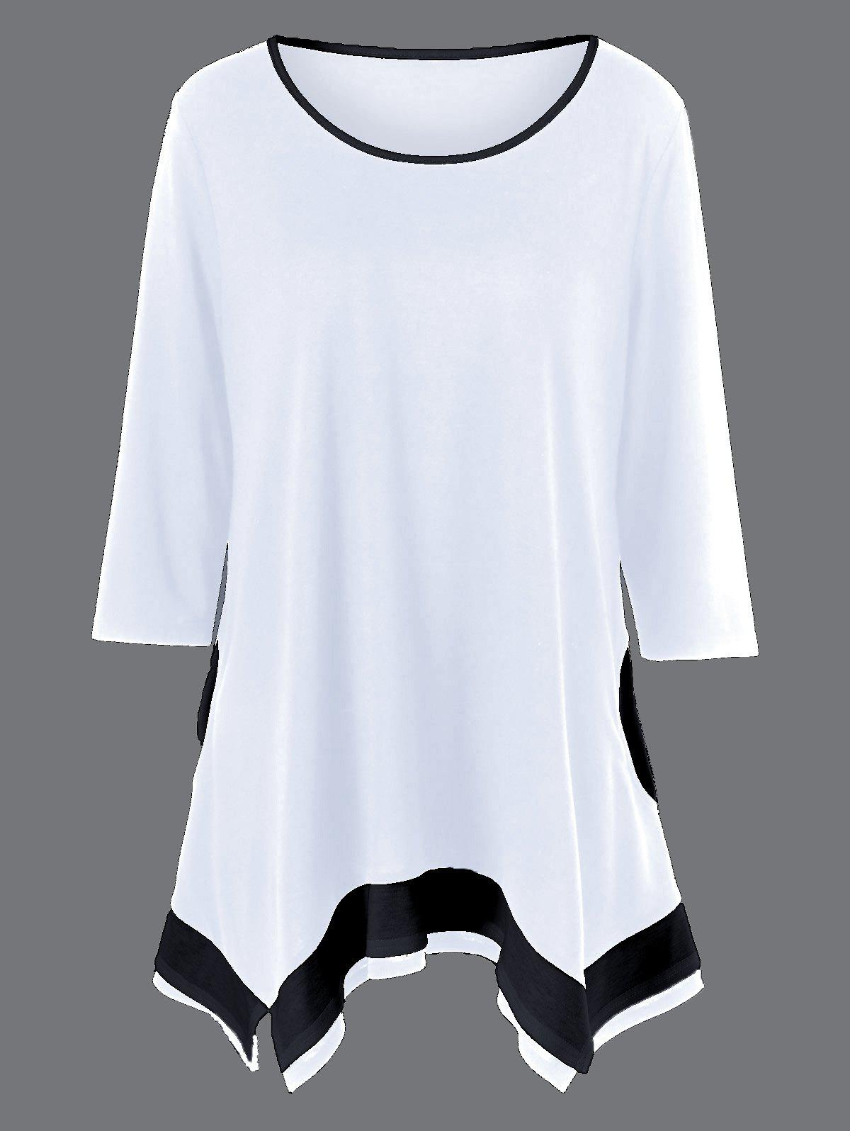 2018 Plus Size Pockets Design Two Tone T Shirt White Xl In T Shirts