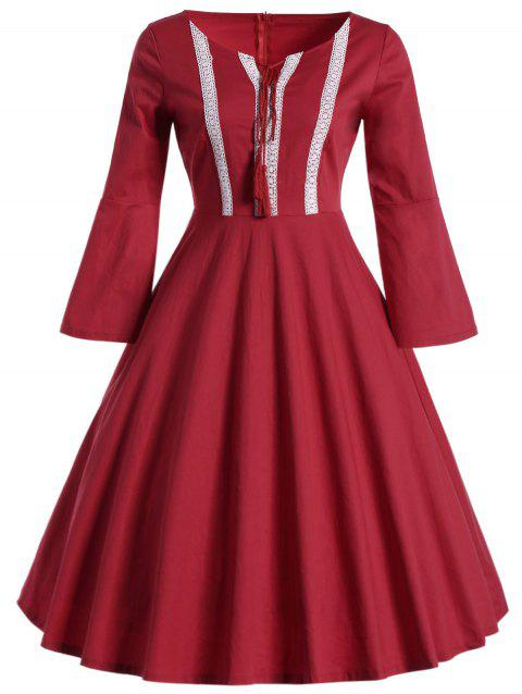 Bell Sleeve Front Tie Full Dress - RED L