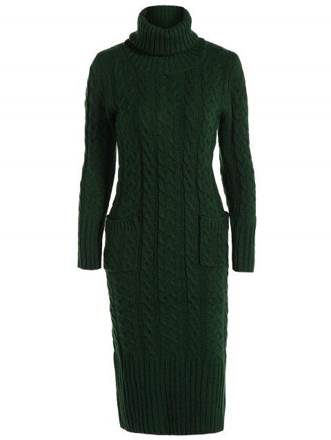 2c1818355 41% OFF  2019 Turtleneck Midi Cable Knit Sweater Dress In DEEP GREEN ...