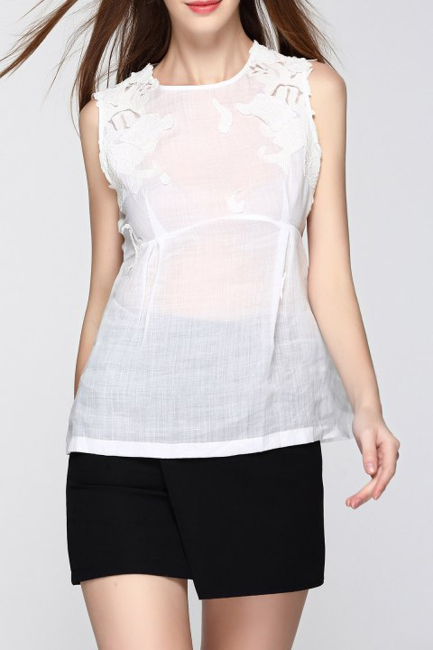 Embroidered See-Through Tank Top - WHITE M