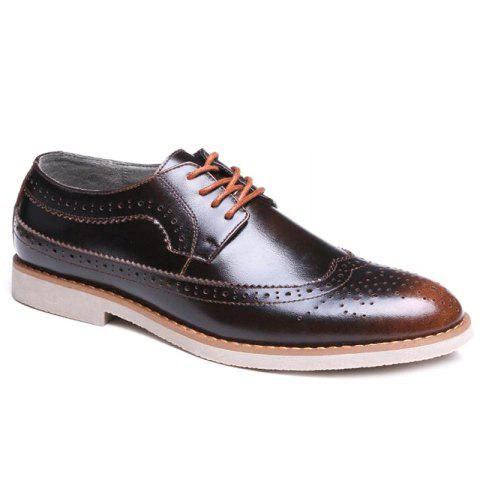 Tie Up Wingtip Formal Shoes - BRONZE COLORED 43
