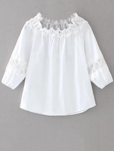 Pullover Lace Insert Top - WHITE M