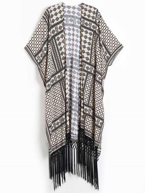Women's Geometric Print Fringed Design Short Sleeve Kimono Blouse - KHAKI L
