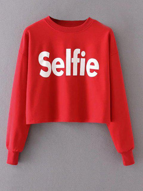 Cropped Selfie Graphic Sweatshirt - RED M