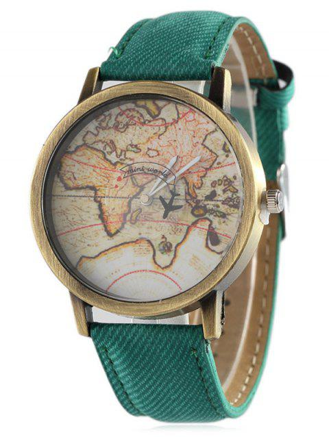 Faux Leather World Map Quartz Watch - GREEN