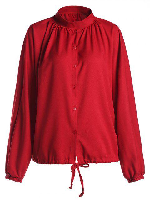 Casual V-Neck Solid Color Single-Breasted Long Sleeve Women's Blouse - RED 2XL