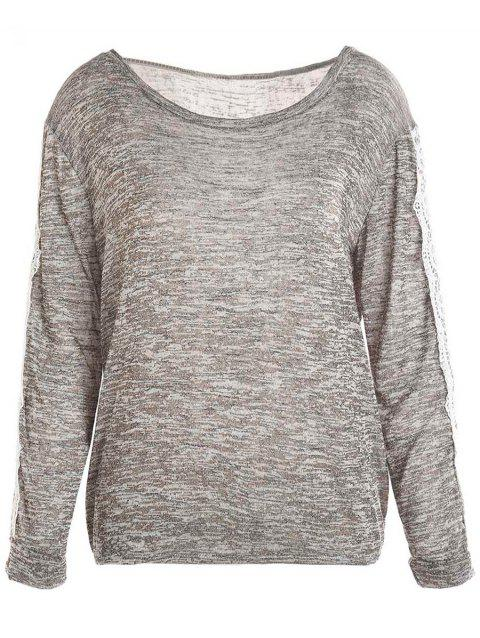Casual Style Long Sleeve Scoop Neck Color Block Spliced Women's T-Shirt - GRAY L