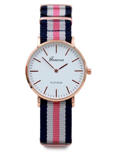 Striped Quartz Analog Watch - PINK