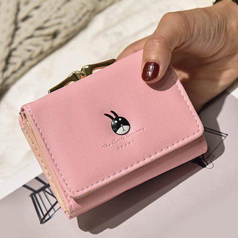 Metal Trimmed Stitching Tri Fold Small Wallet - PINK