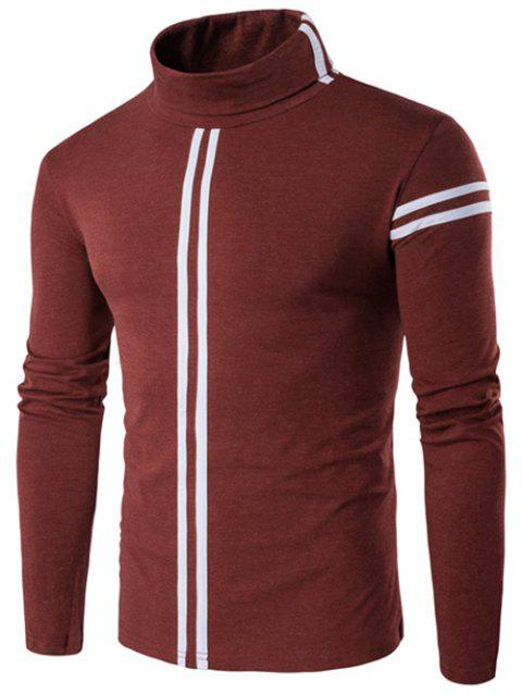 Varsity Stripe Long Sleeve Roll Neck T-Shirt - OXIDE RED XL