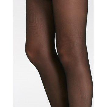 Jacquard See-Through Stretchy Pantyhose - BLACK BLACK