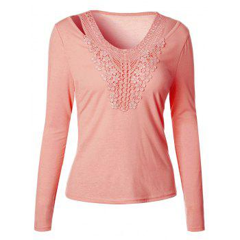 Crochet Cut Out Long Sleeve T-Shirt