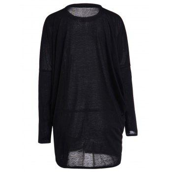 Casual Pleated Batwing Sleeve Pure Color T-Shirt For Women - BLACK BLACK