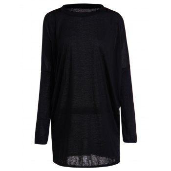 Casual Pleated Batwing Sleeve Pure Color T-Shirt For Women - BLACK XL