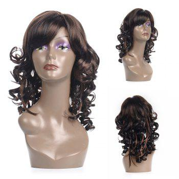 Fluffy Curly Black Mixed Brown Vogue Medium Side Bang Kanekalon Wig For Women