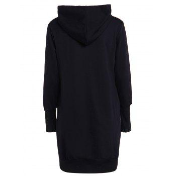 Fashionable Women's Solid Color Long Sleeve Loose-Fitting Hoodie - 2XL 2XL