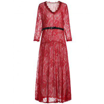 Charming Flower Pattern V-Neck Long Sleeve Lace Dress For Women - RED 2XL