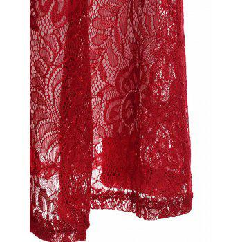 Charming Flower Pattern V-Neck Long Sleeve Lace Dress For Women - RED RED