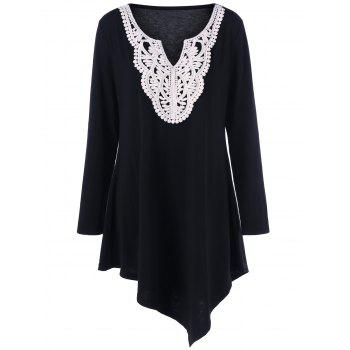 Plus Size Crochet Asymmetric Tunic T-Shirt