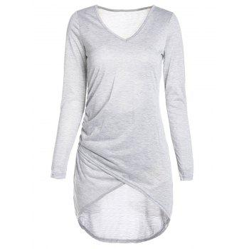 Sexy Plunging Neck Long Sleeve Asymmetrical Bodycon Women's Dress