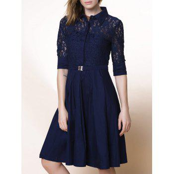 Elegant Solid Color 3/4 Sleeve Lace Design Cut Out Midi Dress For Women