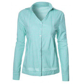 Plaid Cotton Blend V Neck Shirt