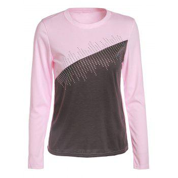 Fashionable Women's Round Neck Long Sleeve Color Block Rhinestone Embellished T-Shirt