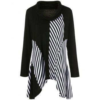 Plus Size Asymmetrical Striped Trim T-Shirt